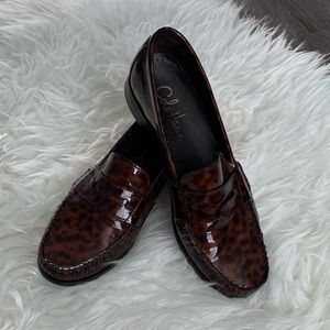Cole Haan animal print leather loafers size 11